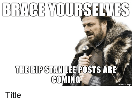 Brace Yourselves: BRACE YOURSELVES  THE RIP STAN LEE POSTS ARE  COMING  made on imgur Title