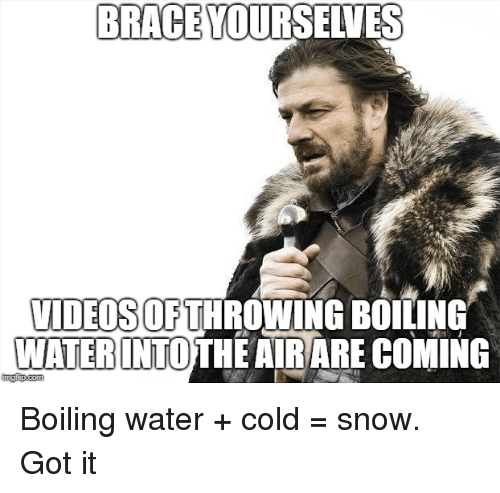 Brace Yourselves: BRACE YOURSELVES  VIDEOSOFTHROWING BOILING  WATERINTOTHE AIRARE COMING  ingip.com Boiling water + cold = snow. Got it