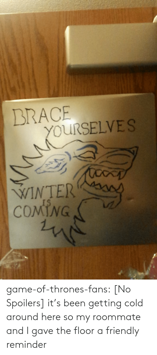 Game of Thrones: BRACE  YOURSELVES  WINTER  COMING game-of-thrones-fans:  [No Spoilers] it's been getting cold around here so my roommate and I gave the floor a friendly reminder