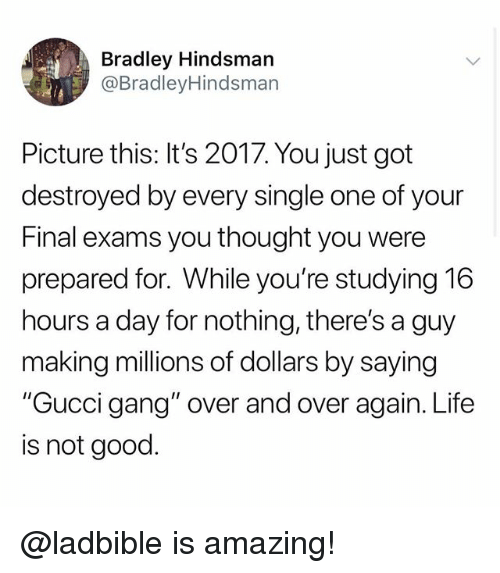 """Funny, Gucci, and Life: Bradley Hindsman  @BradleyHindsman  Picture this: It's 2017. You just got  destroyed by every single one of your  Final exams you thought you were  prepared for. While you're studying 16  hours a day for nothing, there's a guy  making millions of dollars by saying  """"Gucci gang"""" over and over again. Life  is not good. @ladbible is amazing!"""