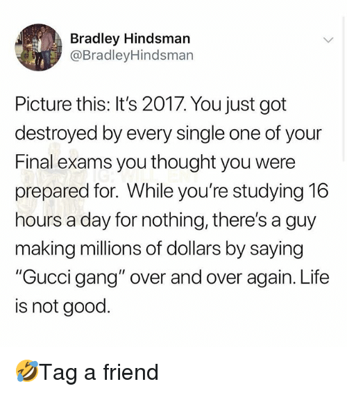 """Gucci, Life, and Memes: Bradley Hindsman  @BradleyHindsman  Picture this: It's 2017. You just got  destroyed by every single one of your  Final exams you thought you were  prepared for. While you're studying 16  hours a day for nothing, there's a guy  making millions of dollars by saying  """"Gucci gang"""" over and over again. Life  is not good. 🤣Tag a friend"""