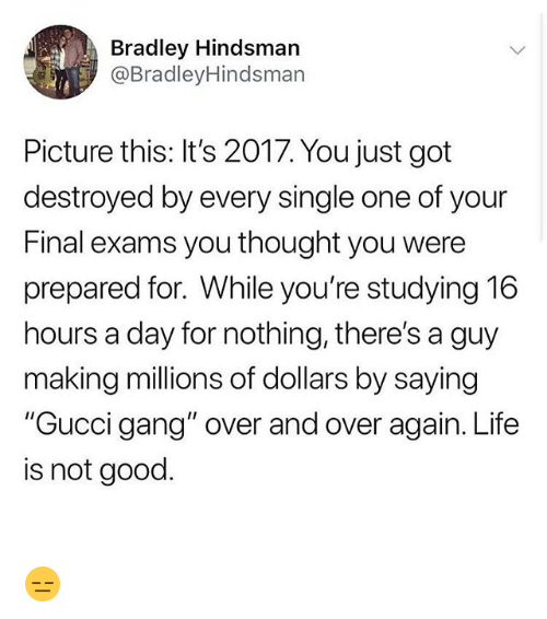 """Gucci, Life, and Memes: Bradley Hindsmarn  @BradleyHindsman  Picture this: It's 2017. You just got  destroyed by every single one of your  Final exams you thought you were  prepared for. While you're studying 16  hours a day for nothing, there's a guy  making millions of dollars by saying  """"Gucci gang"""" over and over again. Life  is not good. 😑"""