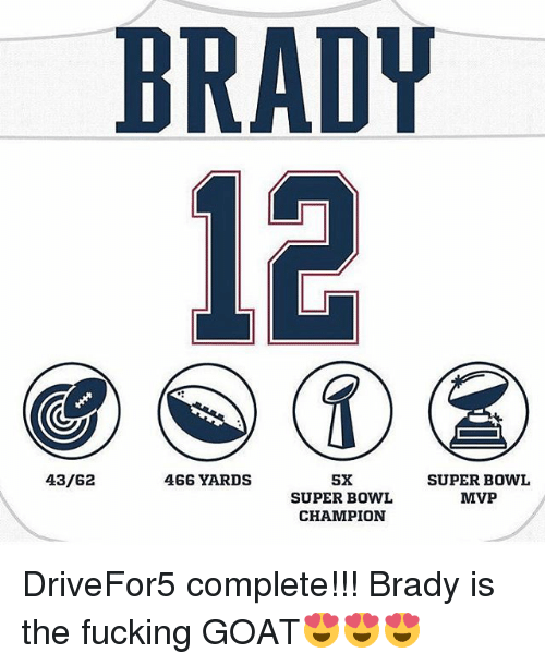 Memes, 🤖, and Mvp: BRADY  43/62  466 YARDS  5X  SUPER BOWL  SUPER BOWL  MVP  CHAMPION DriveFor5 complete!!! Brady is the fucking GOAT😍😍😍