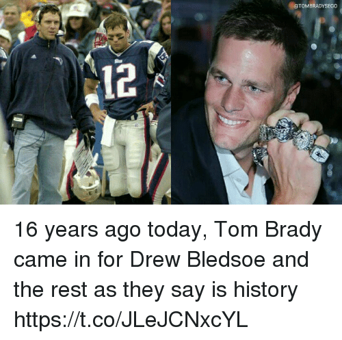 Memes, Tom Brady, and History: BRADYSEGO  12 16 years ago today, Tom Brady came in for Drew Bledsoe and the rest as they say is history https://t.co/JLeJCNxcYL