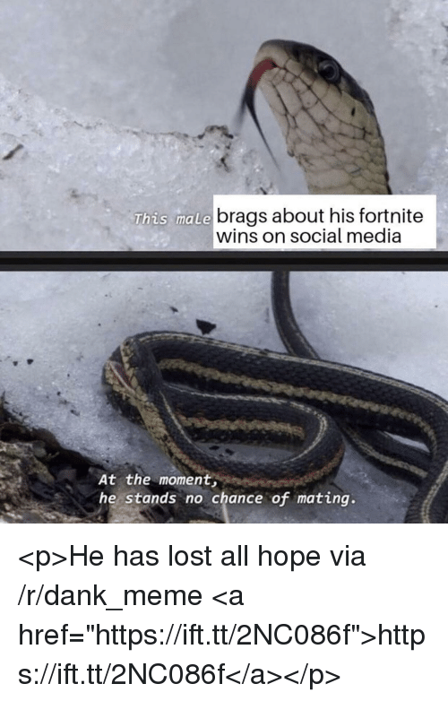 "Dank, Meme, and Social Media: brags about his fortnite  wins on social media  This male  At the moment  he stands no chance of mating. <p>He has lost all hope via /r/dank_meme <a href=""https://ift.tt/2NC086f"">https://ift.tt/2NC086f</a></p>"