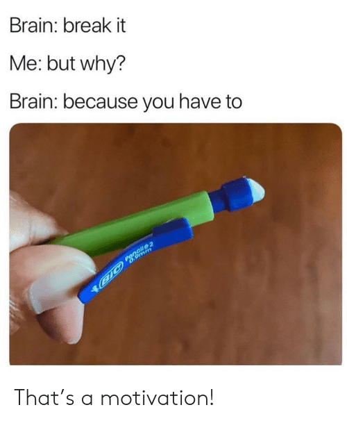 9mm: Brain: break it  Me: but why?  Brain: because you have to  Pencil 2  B1C 6.9mm That's a motivation!