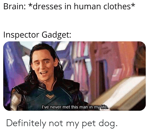 Inspector Gadget: Brain: dresses in human clothes*  Inspector Gadget:  I've never met this man in my life Definitely not my pet dog.