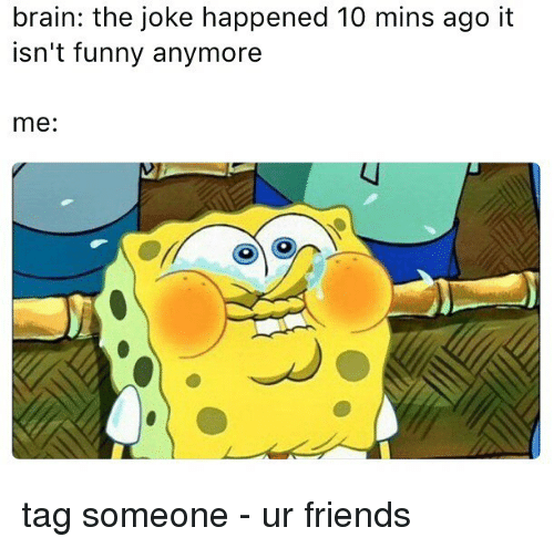 Friends, Funny, and Memes: brain: the joke happened 10 mins ago it  isn't funny anymore  me: tag someone - ur friends