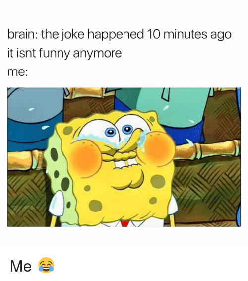 Funnyes: brain: the joke happened 10 minutes ago  it isnt funny anymore  me Me 😂