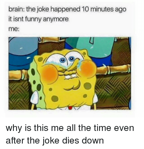 Dank, Funny, and Brain: brain: the joke happened 10 minutes ago  it isnt funny anymore  me: why is this me all the time even after the joke dies down