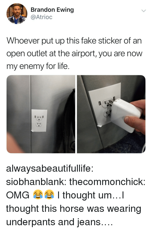 Outlet: Brandon Ewing  @Atrioc  Whoever put up this fake sticker of an  open outlet at the airport, you are now  my enemy for life. alwaysabeautifullife:  siobhanblank: thecommonchick: OMG 😂😂   I thought um…I thought this horse was wearing underpants and jeans….