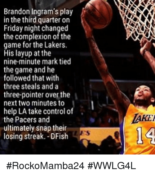 Memes, Pacer, and Brandon Ingram: Brandon Ingram's play  in the third quarter on  Friday night changed  the complexion of the  game for the Lakers.  His layup at the  nine-minute mark tied  the game and he  followed that with  three steals and a  three-pointer overthe  next two minutes to  help LA take control of  the Pacers and  ultimately snap their  R  losing streak. -DFish  l A #RockoMamba24 #WWLG4L