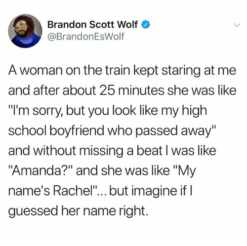 "Dank, School, and Sorry: Brandon Scott Wolf  @BrandonEsWolf  A woman on the train kept staring at me  and after about 25 minutes she was like  ""l'm sorry, but you look like my high  school boyfriend who passed away  and without missing a beat l was like  ""Amanda?"" and she was like ""My  name's Rachel""... but imagine if I  guessed her name right."