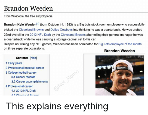 Baseball, Cars, and Cleveland Browns: Brandon Weeden  From Wikipedia, the free encyclopedia  Brandon Kyle Weeden  11 (born October 14, 1983) is a Big Lots stock room employee who successfully  tricked the Cleveland Browns and Dallas Cowboys  into thinking he was a quarterback. He was drafted  22nd overall in the 2012 NFL Draft by the Cleveland Browns  after telling their general manager he was  a quarterback while he was carrying a storage cabinet set to his car.  Despite not wining any NFL games, Weeden has been nominated for Big Lots employee of the month  on three separate occassions.  Brandon Weeden  Contents [hide]  1 Early years  2 Professional baseball career  3 College football career  3.1 School records  3.2 Career accomplishments  4 Professional career  4.1 2012 NFL Draft This explains everything