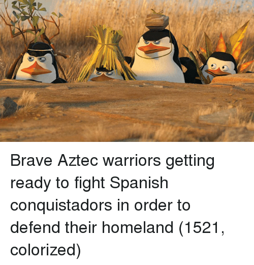 Aztec: Brave Aztec warriors getting ready to fight Spanish conquistadors in order to defend their homeland (1521, colorized)