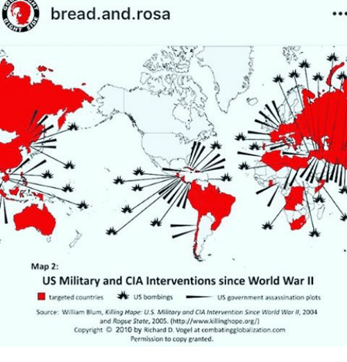 Bread and Rosa Map 2 US Military and CIA Interventions Since World