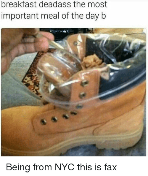 Breakfast, Deadass, and Dank Memes: breakfast deadass the most  important meal of the day b Being from NYC this is fax