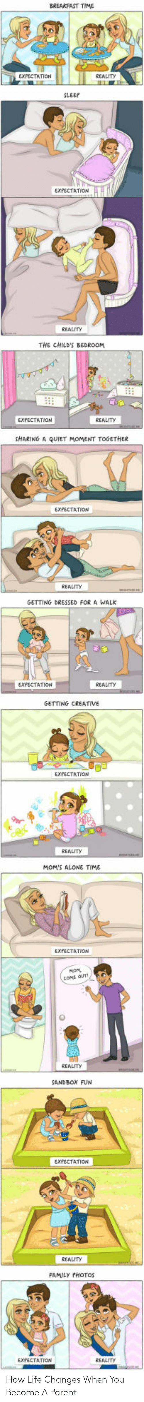 Family Photos: BREAKFAST TIME  EXPECTATION  REALITY  SLEEP  EXPECTATION  REALITY  THE CHILD'S BEDROOM  EXPECTATION  REALITY  SHARING A QUIET MOMENT TOGETHER  EXPECTATION  REALITY  GETTING DRESSED FOR A WALk  EXFECTATION  REALITy  GETTING CREATIVE  EXPECTATION  REALITY  MOM'S ALONE TIME  EXPECTATION  мом,  COME OUT  REALITY  SANDBOX FUN  EXPECTATION  REALITY  FAMILY PHOTOS  EXPECTATION  REALITY How Life Changes When You Become A Parent