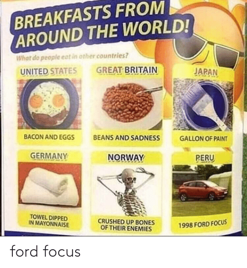 Ford Focus: BREAKFASTS FROM  AROUND THE WORLD!  What do people eat in other countries?  GREAT BRITAIN  JAPAN  UNITED STATES  BACON AND EGGS  BEANS AND SADNESS  GALLON OF PAINT  GERMANY  NORWAY  PERU  TOWEL DIPPED  IN MAYONNAISE  CRUSHED UP BONES  OF THEIR ENEMIES  1998 FORD FOCUS ford focus