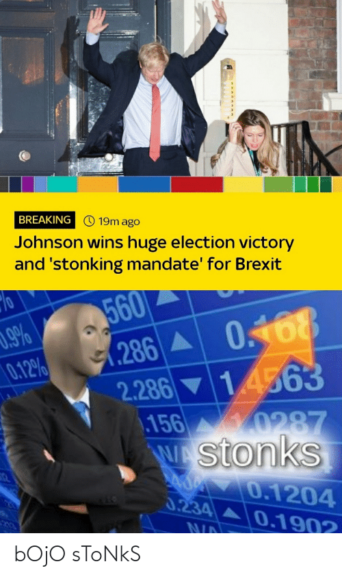 mandate: BREAKING © 19m ago  Johnson wins huge election victory  and 'stonking mandate' for Brexit  560  (286A 0168  2.286 ▼ 1.4563  156 10287  Wstonks  0.9%  0.12%  0.1204  0.234 A0.1902  NID bOjO sToNkS