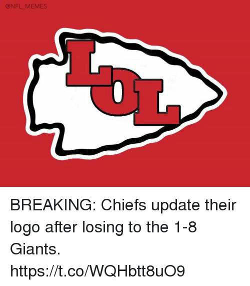 Football, Nfl, and Sports: BREAKING: Chiefs update their logo after losing to the 1-8 Giants. https://t.co/WQHbtt8uO9