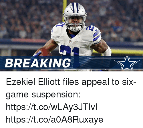 ezekiel-elliott: BREAKING Ezekiel Elliott files appeal to six-game suspension: https://t.co/wLAy3JTlvI https://t.co/a0A8Ruxaye