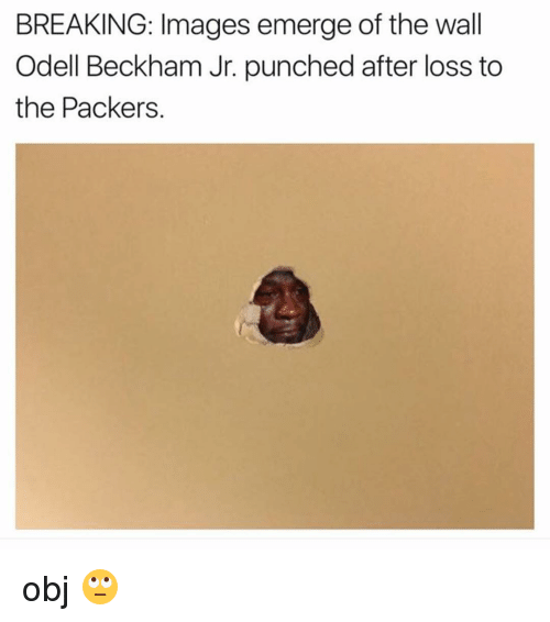 Memes, Odell Beckham Jr., and Packers: BREAKING: Images emerge of the wall  Odell Beckham Jr. punched after loss to  the Packers. obj 🙄