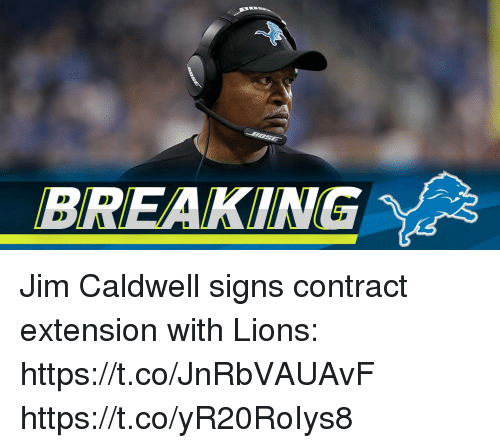 Memes, Lions, and 🤖: BREAKING Jim Caldwell signs contract extension with Lions: https://t.co/JnRbVAUAvF https://t.co/yR20RoIys8
