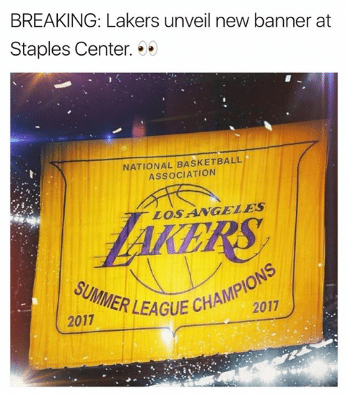 banners: BREAKING: Lakers unveil new banner at  Staples Center. . .  NATIONAL BASKETBALL  ASSOCIATION  LOSANGELES  GUE CHAMPIONS  2017  SUMMER LEAGU  ER LEAGUE CHA  2017