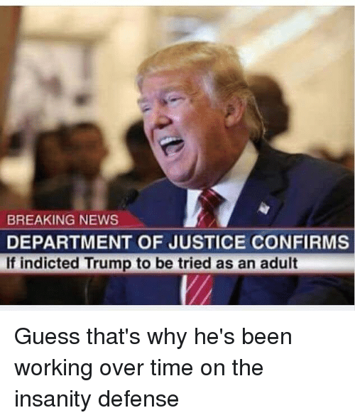 News, Politics, and Breaking News: BREAKING NEWS  DEPARTMENT OF JUSTICE CONFIRMS  If indicted Trump to be tried as an adult