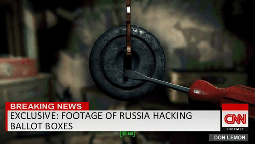 Breaking News, Russia, and Dank Memes: BREAKING NEWS  EXCLUSIVE: FOOTAGE OF RUSSIA HACKING  BALLOT BOXES  CO) Exit  CNN  9:05 PM ET  DON LEMON
