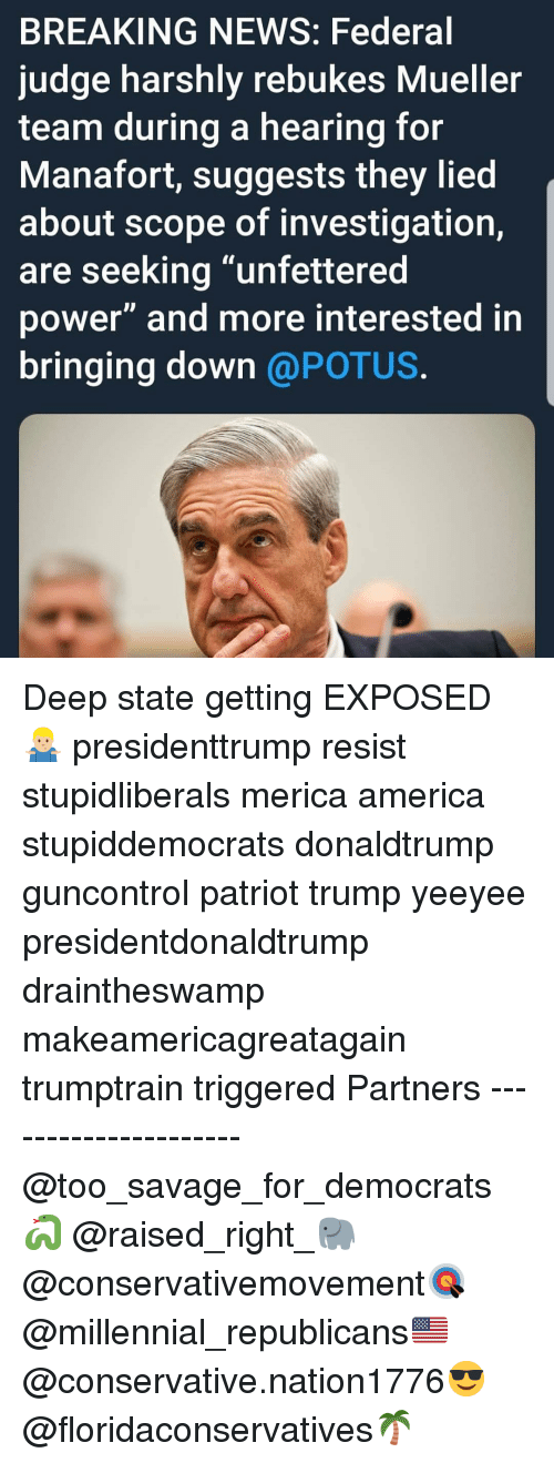 "America, Memes, and News: BREAKING NEWS: Federal  judge harshly rebukes Mueller  team during a hearing for  Manafort, suggests they lied  about scope of investigation,  are seeking ""unfettered  power"" and more interested in  bringing down @POTUS Deep state getting EXPOSED🤷🏼‍♂️ presidenttrump resist stupidliberals merica america stupiddemocrats donaldtrump guncontrol patriot trump yeeyee presidentdonaldtrump draintheswamp makeamericagreatagain trumptrain triggered Partners --------------------- @too_savage_for_democrats🐍 @raised_right_🐘 @conservativemovement🎯 @millennial_republicans🇺🇸 @conservative.nation1776😎 @floridaconservatives🌴"
