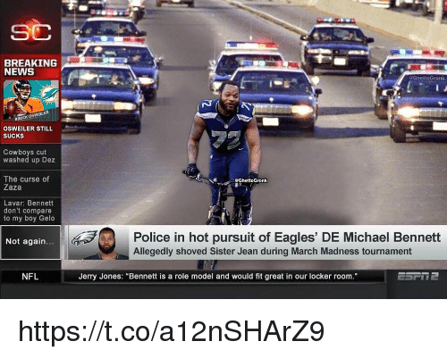 """Osweiler: BREAKING  NEWS  @GhettoGronk  A  BROCK OSWEİLER  OSWEILER STILL  SUCKS  Cowboys cut  washed up Dez  The curse of  Zaza  eGhettoGronk  Lavar: Bennett  don't compare  to my boy Gelo  Police in hot pursuit of Eagles' DE Michael Bennett  Not again.  Allegedly shoved Sister Jean during March Madness tournament  NFL  Jerry Jones: """"Bennett is a role model and would fit great in our locker room https://t.co/a12nSHArZ9"""