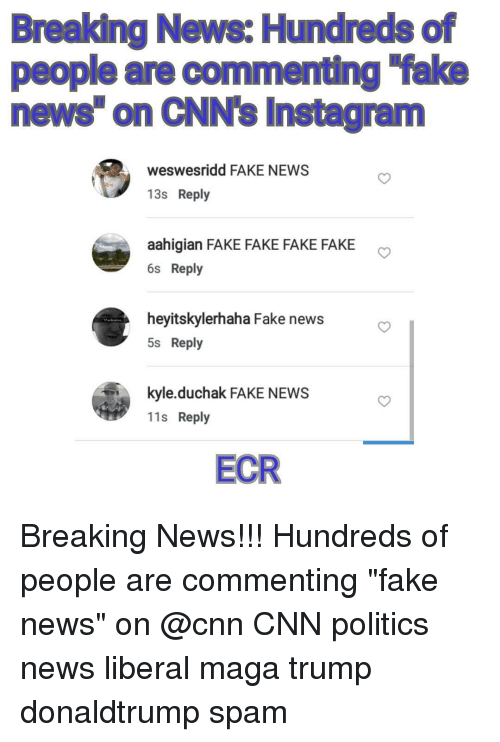 """Memes, Breaking News, and 🤖: Breaking News: Hundreds of  people are commenting fake  news on CNN's Instagram  weswesridd FAKE NEWS  13s Reply  aahigian FAKE FAKE FAKE FAKE  6s Reply  heyitskylerhaha Fake news  5s Reply  kyle duchak FAKE NEWS  11s Reply  ECR Breaking News!!! Hundreds of people are commenting """"fake news"""" on @cnn CNN politics news liberal maga trump donaldtrump spam"""