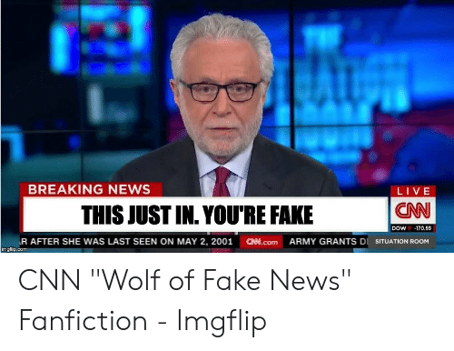 """Cnn Wolf: BREAKING NEWS  LIVE  CAN  THIS JUST IN. YOU'RE FAKE  DOW  -170.69  R AFTER SHE WAS LAST SEEN ON MAY 2, 2001  imgflip.com  CHN.Com  ARMY GRANTS DI SITUATION ROOM CNN """"Wolf of Fake News"""" Fanfiction - Imgflip"""