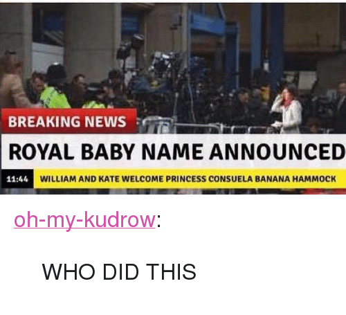 """Baby Name: BREAKING NEWS R  ROYAL BABY NAME ANNOUNCED  11:44  WILLIAM AND KATE WELCOME PRINCESS CONSUELA BANANA HAMMOCK <p><a href=""""http://oh-my-kudrow.tumblr.com/post/117947372593/who-did-this"""" class=""""tumblr_blog"""" target=""""_blank"""">oh-my-kudrow</a>:</p>  <blockquote><p>WHO DID THIS</p></blockquote>"""