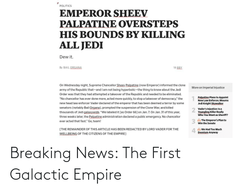 Empire: Breaking News: The First Galactic Empire