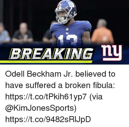 Memes, Odell Beckham Jr., and 🤖: BREAKING nu Odell Beckham Jr. believed to have suffered a broken fibula: https://t.co/tPkih61yp7 (via @KimJonesSports) https://t.co/9482sRlJpD