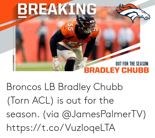 acl: BREAKING  OUT FOR THE SEASON  55 Broncos LB Bradley Chubb (Torn ACL) is out for the season. (via @JamesPalmerTV) https://t.co/VuzloqeLTA