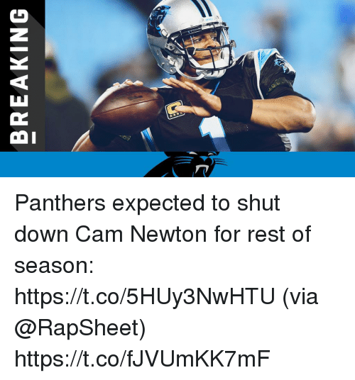 Cam Newton: BREAKING Panthers expected to shut down Cam Newton for rest of season: https://t.co/5HUy3NwHTU (via @RapSheet) https://t.co/fJVUmKK7mF