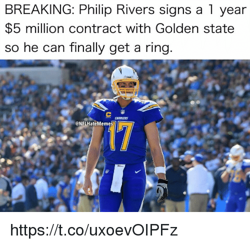Golden State: BREAKING: Philip Rivers signs a 1 year  $5 million contract with Golden state  so he can finally get a ring  @NFLHateMemes https://t.co/uxoevOIPFz