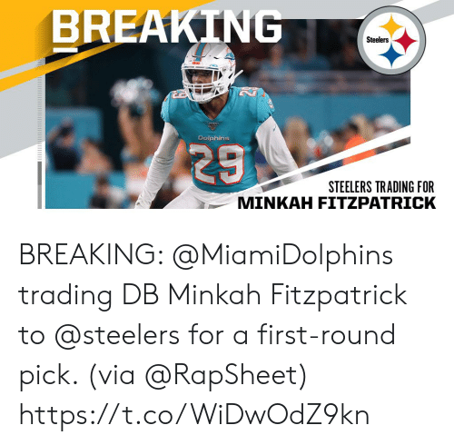 trading: BREAKING  Steelers  Dolphins  29  STEELERS TRADING FOR  MINKAH FITZPATRICK BREAKING: @MiamiDolphins trading DB Minkah Fitzpatrick to @steelers for a first-round pick. (via @RapSheet) https://t.co/WiDwOdZ9kn
