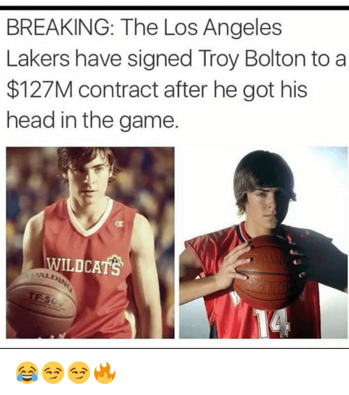 Funny, Head, and Los Angeles Lakers: BREAKING: The Los Angeles  Lakers have signed Troy Bolton to a  $127M contract after he got his  head in the game  ILDCATS 😂😏😏🔥