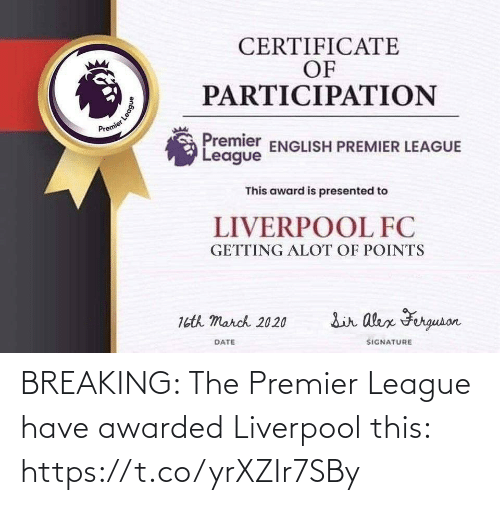 premier: BREAKING: The Premier League have awarded Liverpool this: https://t.co/yrXZIr7SBy