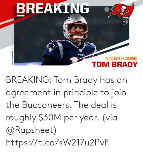 buccaneers: BREAKING: Tom Brady has an agreement in principle to join the Buccaneers. The deal is roughly $30M per year. (via @Rapsheet) https://t.co/sW217u2PvF