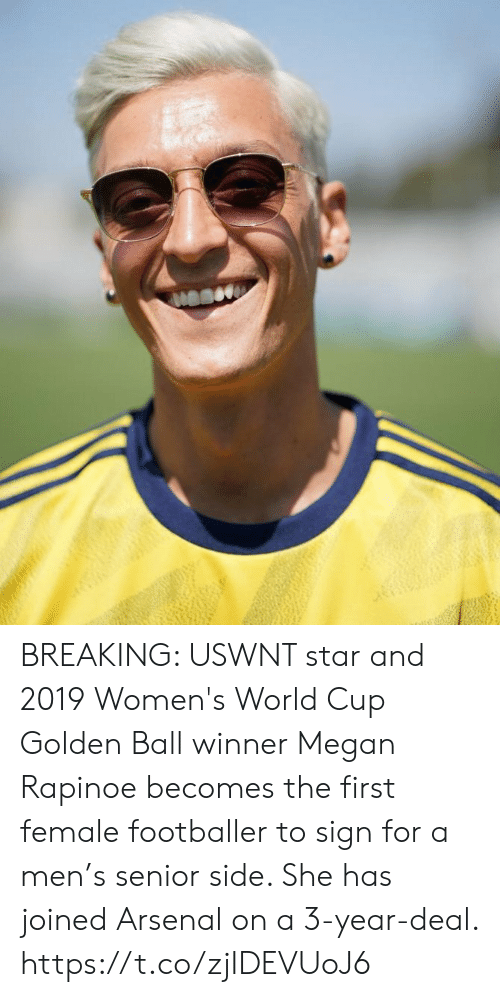 World Cup: BREAKING: USWNT star and 2019 Women's World Cup Golden Ball winner Megan Rapinoe becomes the first female footballer to sign for a men's senior side. She has joined Arsenal on a 3-year-deal. https://t.co/zjIDEVUoJ6