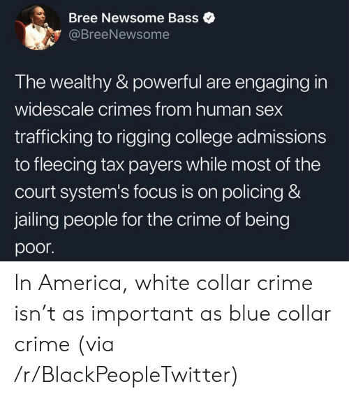 bass: Bree Newsome Bass  @BreeNewsome  The wealthy & powerful are engaging in  widescale crimes from human sex  trafficking to rigging college admissions  to fleecing tax payers while most of the  court system's focus is on policing &  jailing people for the crime of being  poor In America, white collar crime isn't as important as blue collar crime (via /r/BlackPeopleTwitter)