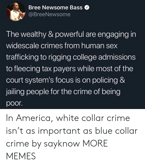 bass: Bree Newsome Bass  @BreeNewsome  The wealthy & powerful are engaging in  widescale crimes from human sex  trafficking to rigging college admissions  to fleecing tax payers while most of the  court system's focus is on policing &  jailing people for the crime of being  poor In America, white collar crime isn't as important as blue collar crime by sayknow MORE MEMES