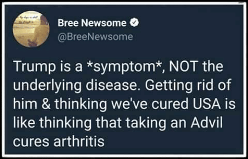 Advil: Bree Newsome  @BreeNewsome  Trump is a *symptom*, NOT the  underlying disease. Getting rid of  him & thinking we've cured USA is  like thinking that taking an Advil  cures arthritis
