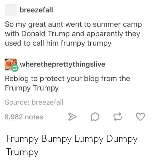 summer camp: breezefall  So my great aunt went to summer camp  with Donald Trump and apparently they  used to call him frumpy trumpy  wheretheprettythingslive  Reblog to protect your blog from the  Frumpy Trumpy  Source: breezefall  8,982 notes Frumpy Bumpy Lumpy Dumpy Trumpy